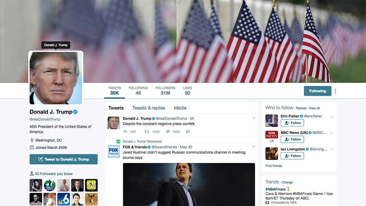 This screenshot shows President Donald Trump's personal Twitter account at 5:20 a.m. on May 31, 2017.