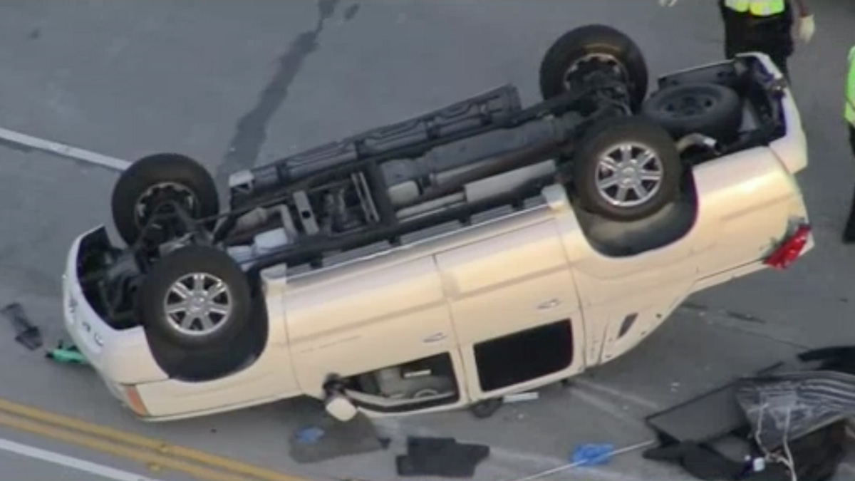 Road rage between a biker and a car led to a rollover crash on the 14 Freeway, hospitalizing an innocent driver Wednesday, June 21, 2017.
