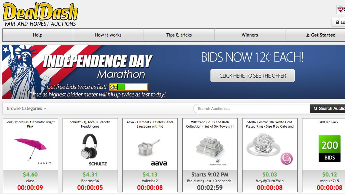 Screenshot of DealDash.com on June 30, 2017.