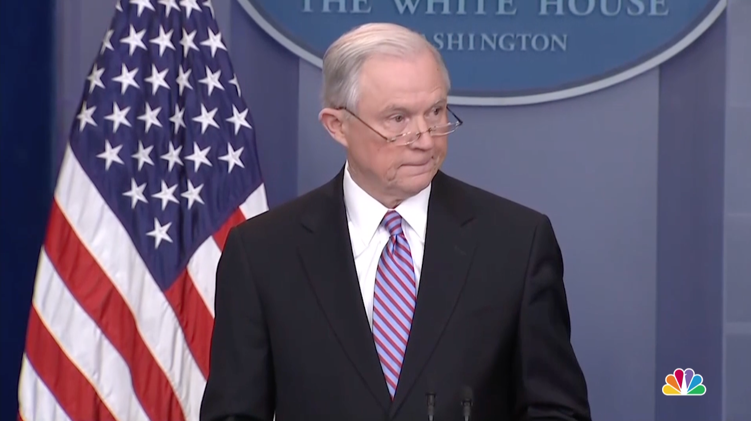 Attorney General Jeff Sessions gives a statement at the White House about sanctuary cities' federal funding on Monday, March 27, 2017.