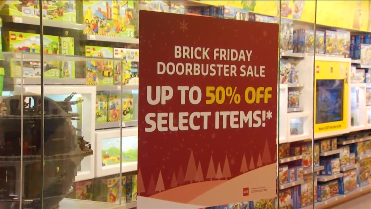 The Lego store offered 50 percent off on some sets through noon.