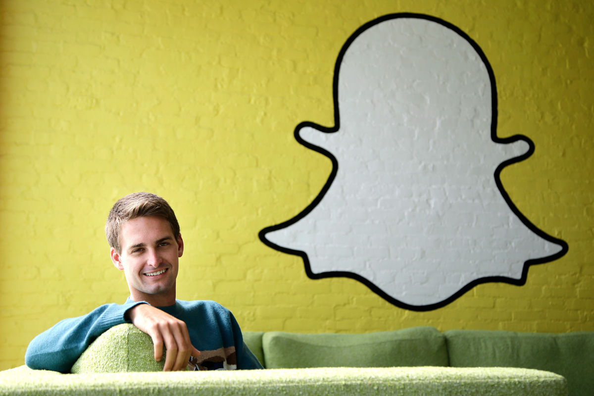 Snapchat CEO Evan Spiegel poses for a photo in Los Angeles.