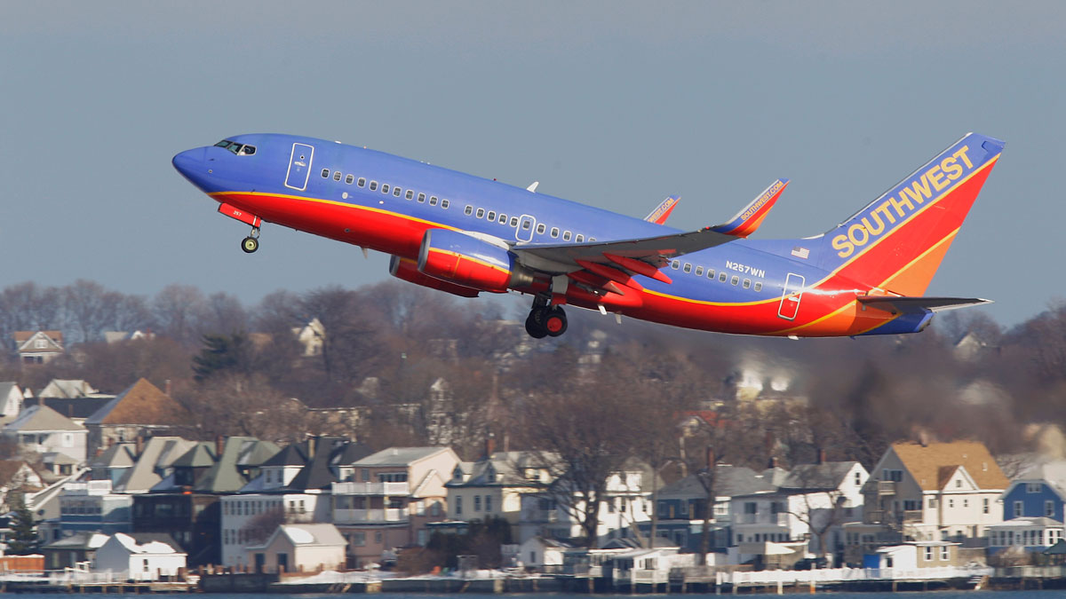 A Southwest Airlines jet takes off at Boston's Logan International Airport in this file photo. Flight 147 had only been in the air about 10 minutes when the plane hit bad turbulence, flight officials said.