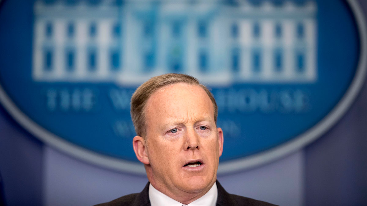 White House press secretary Sean Spicer talks to the media during the daily press briefing at the White House in Washington, April 17, 2017. Spicer discussed the president's tax returns, policy on White House visitor logs and other topics.