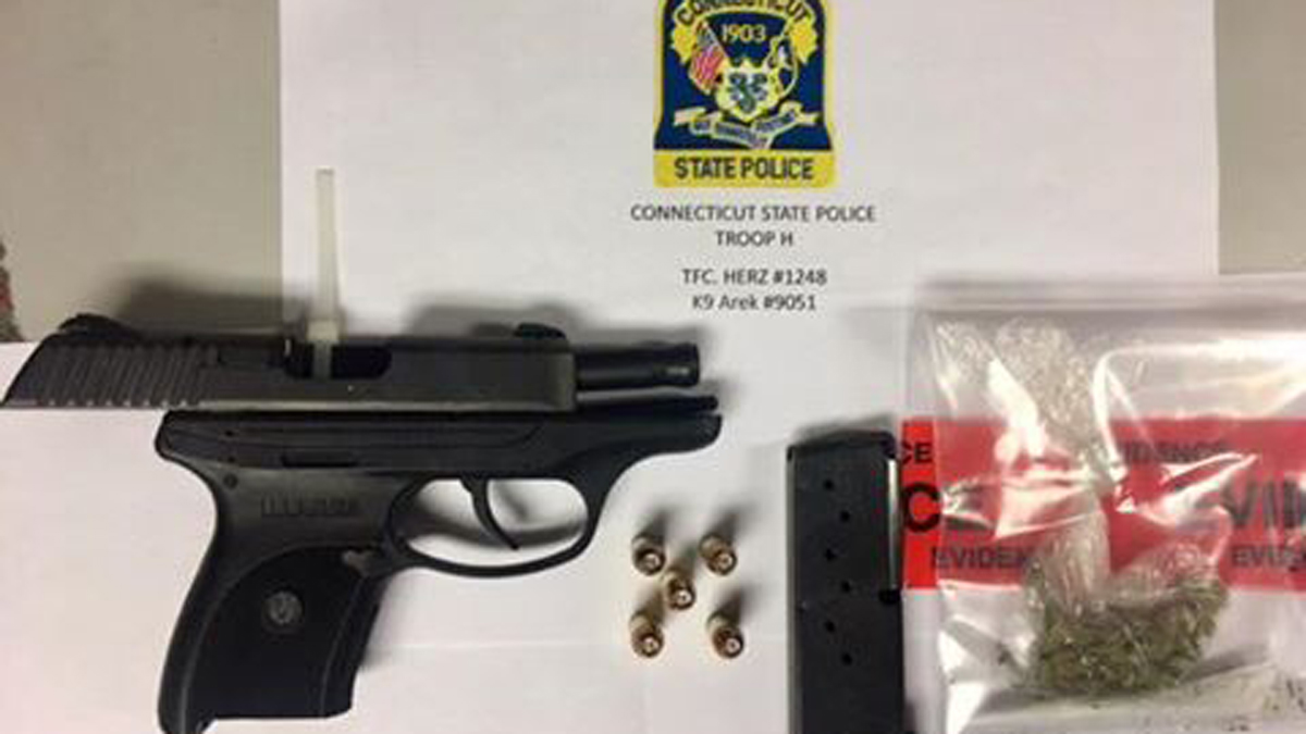 State police seized a handgun and a bag of suspected marijuana during a traffic stop on I-91 in Hartford Friday night.