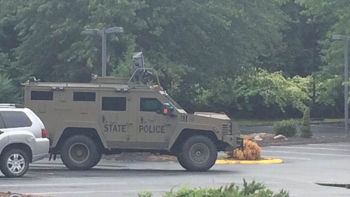 State police responded to the Wyndham Hotel on Strongtown Road in Southbury Sunday for a man barricaded inside.