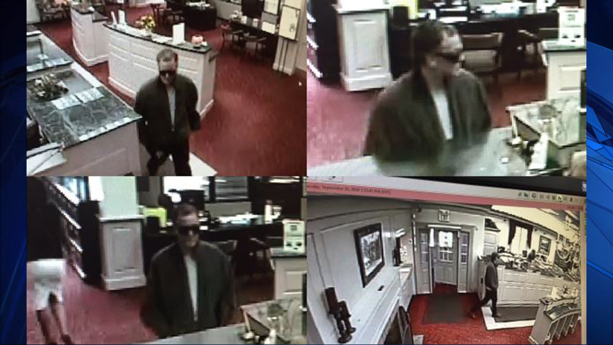 Suffield police said the suspect pictured above robbed the First National Bank of Suffield at gunpoint Tuesday.