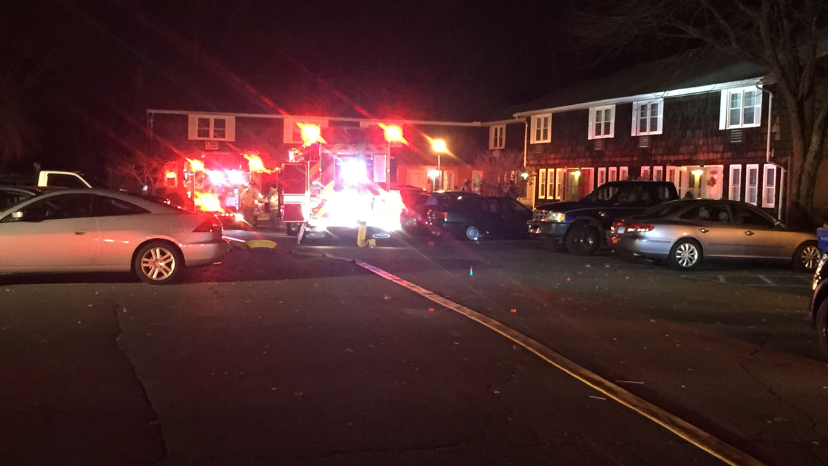 Emergency crews on scene at a fire at an apartment unit on Harmon Drive in Suffield.