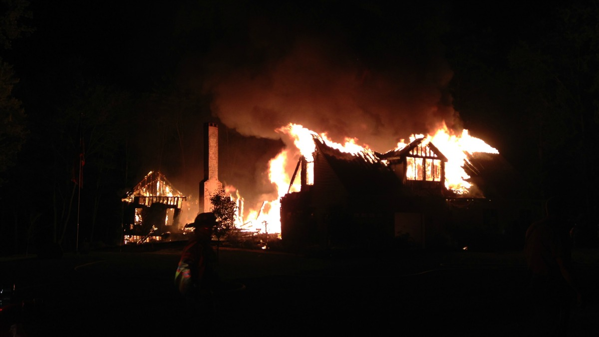 Four people escaped after a fire destroyed a Suffield home Thursday night.