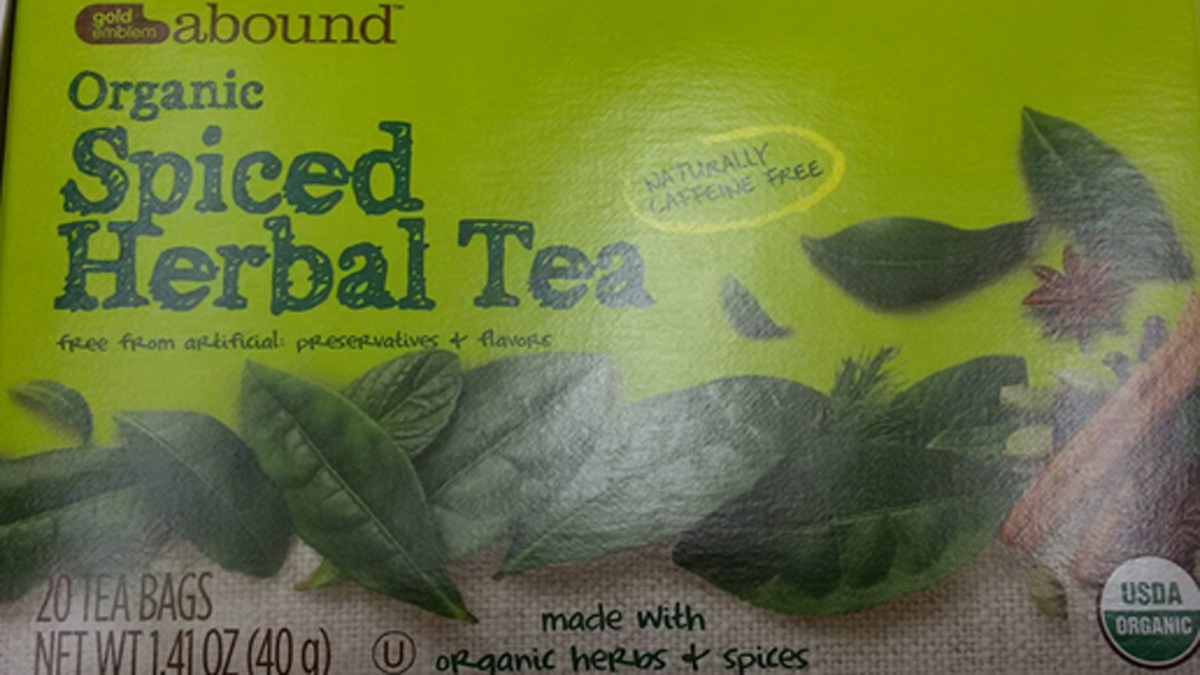 Gold Emblem Abound Organic Spiced Herbal Tea, which was voluntarily recalled April 24 by CVS Pharmacy.