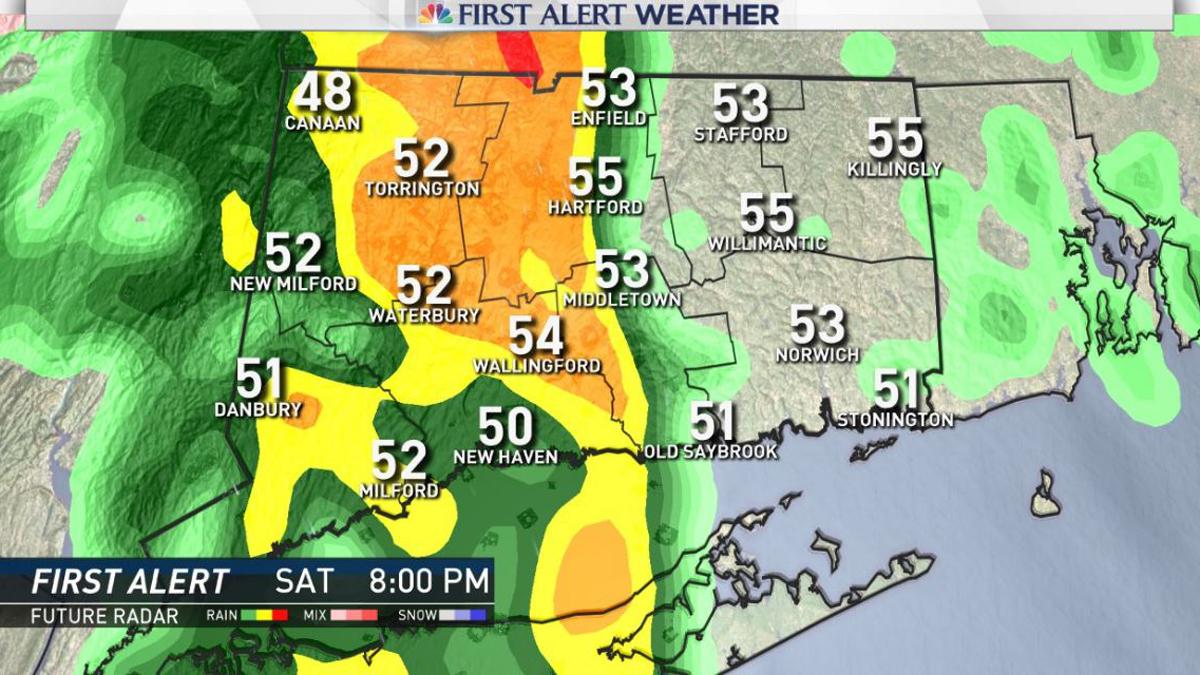 Thunderstorms move into the state starting around 6 p.m. Saturday.
