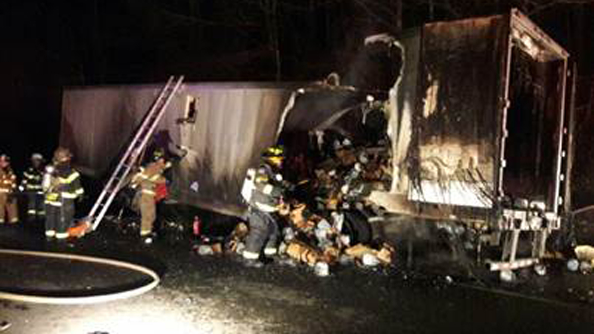 A tractor trailer caught fire on I-395 in Plainfield Sunday evening.