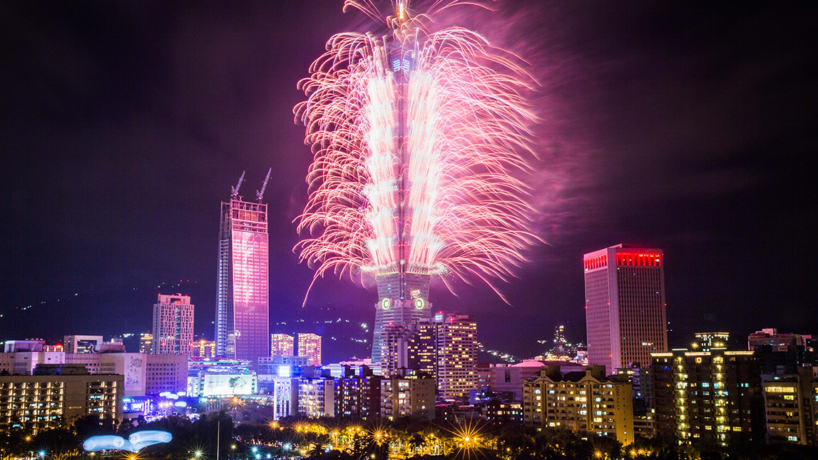 Fireworks light up the Taiwan skyline and Taipei 101 during New Years Eve celebrations just after midnight on Jan. 1, 2017 in Taipei, Taiwan.