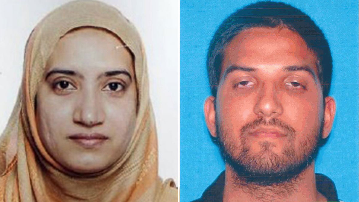 Tashfeen Malik (left) and Syed Rizwan Farook (seen in a California DMV photo) are suspected in a South California shooting rampage that left 14 dead and 21 injured on Wednesday, December 2, 2015.