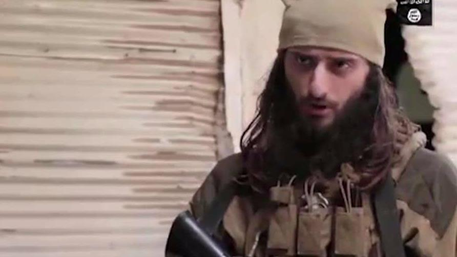 ISIS soldier, Abu Hamza al-Amriki, in a propaganda video posted in May 2017. Al-Amriki has been identified as Zulfi Hoxha, from Margate, New Jersey.