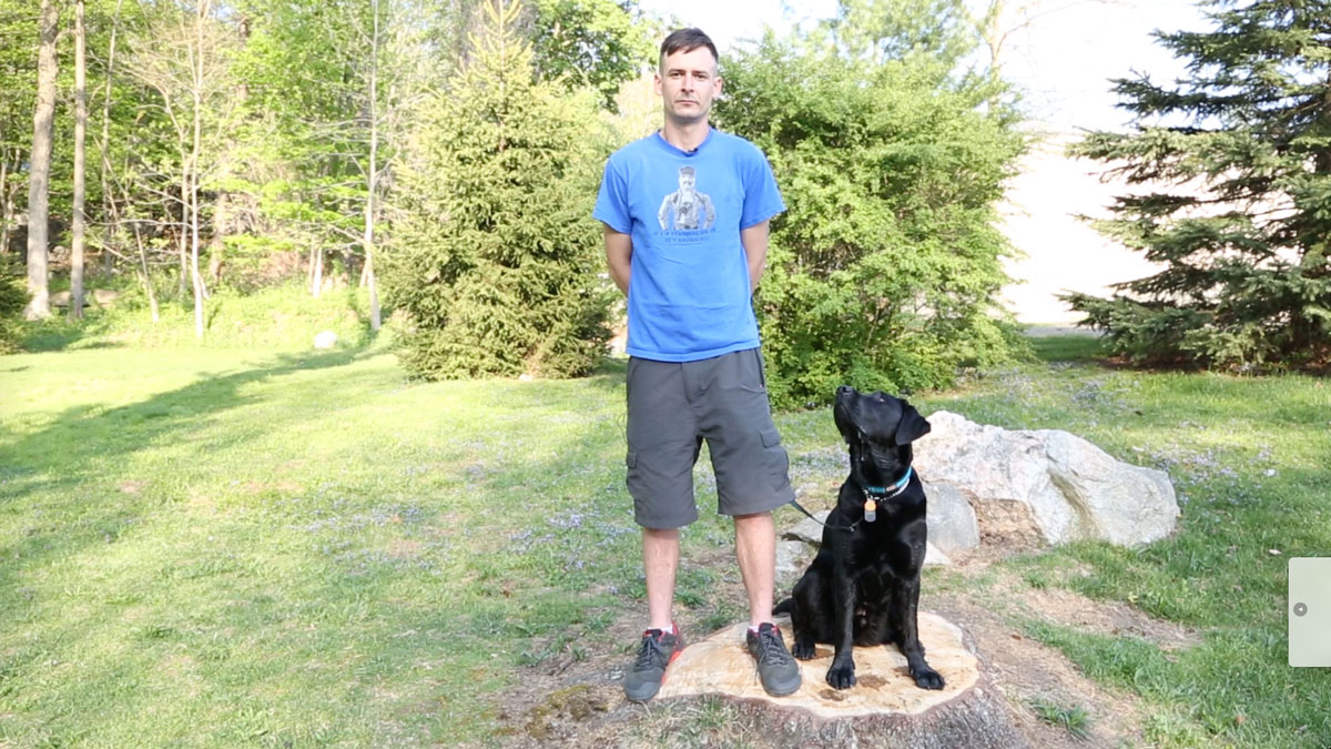 Michael Garvey, retired Marine, and Liberty, his service dog and