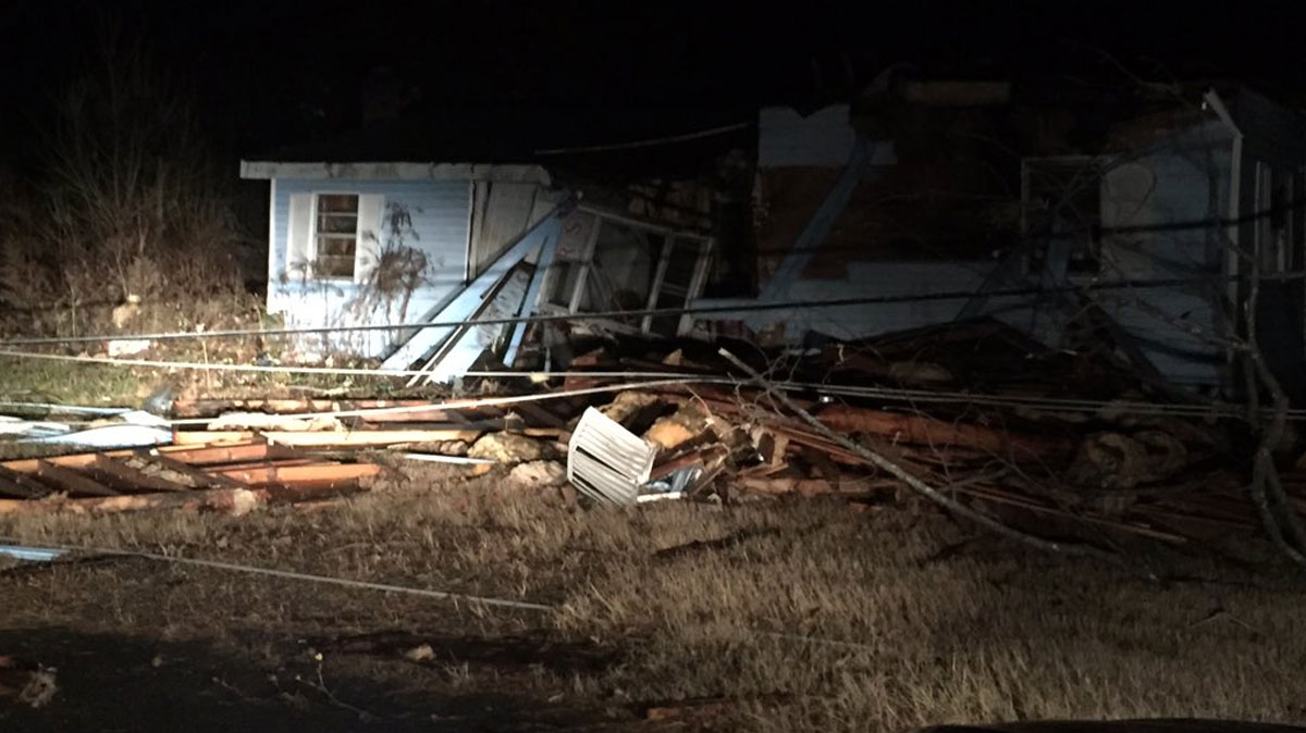 A building in Rosalie, Alabama, is shown damaged after a tornado slammed the area early Wednesday.