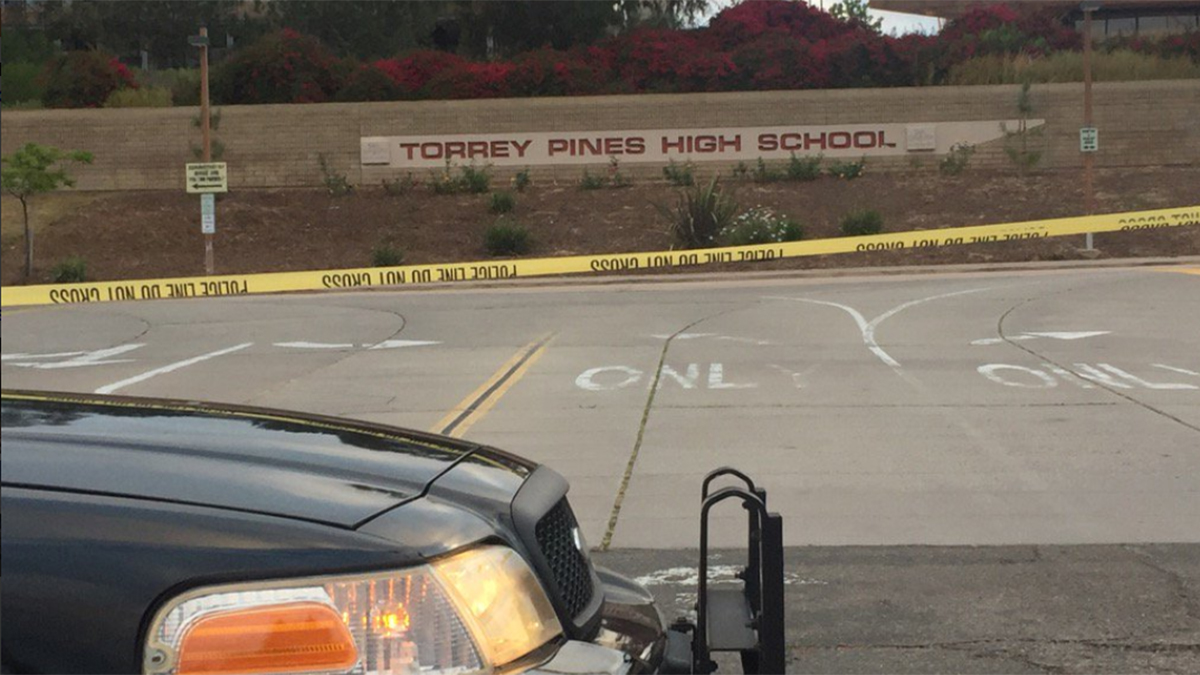 The scene of the officer-involved shooting in the parking lot of Torrey Pines High School on May 6.