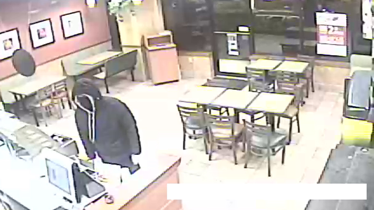 Torrington police say the suspect pictured above entered the Subway restaurant at 455 Winsted Road armed Saturday night and demanded money from the register.