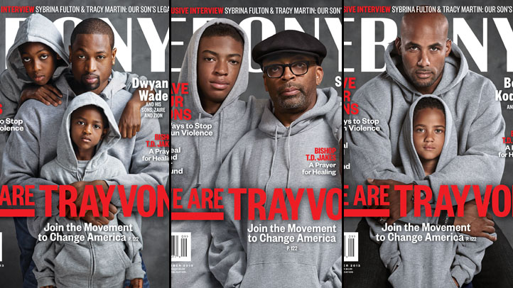 EBONY magazine's September issue pays tribute to Trayvon Martin with cover photos featuring famous African-American men and their sons wearing grey hoodies.