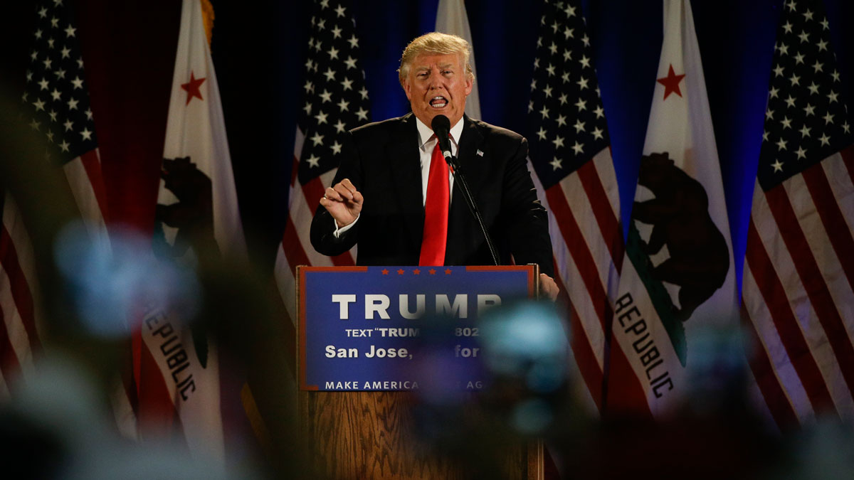 Republican presidential candidate Donald Trump speaks during a rally, on June 2, 2016, in San Jose, Calif.