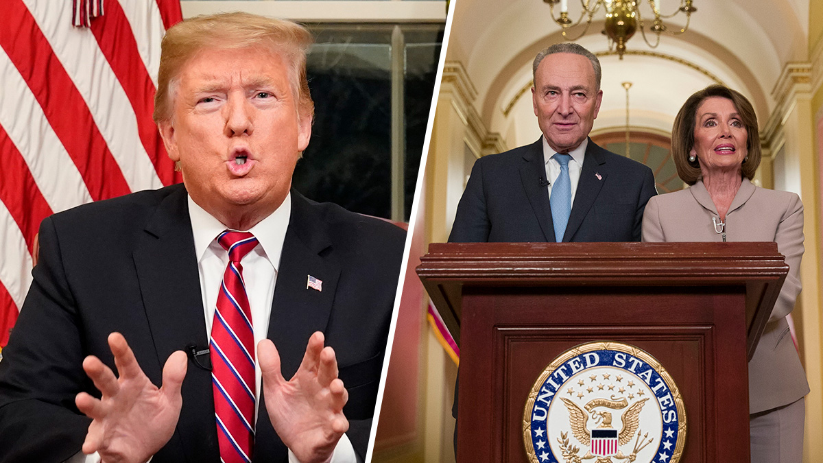 Left: President Donald Trump speaks from the Oval Office in the White House, Jan. 8, 2019, in Washington. Right: Senate Minority Leader Chuck Schumer, of N.Y., and House Speaker Nancy Pelosi of Calif. speak on Capitol Hill following the president's address on Jan. 8, 2019, in Washington.