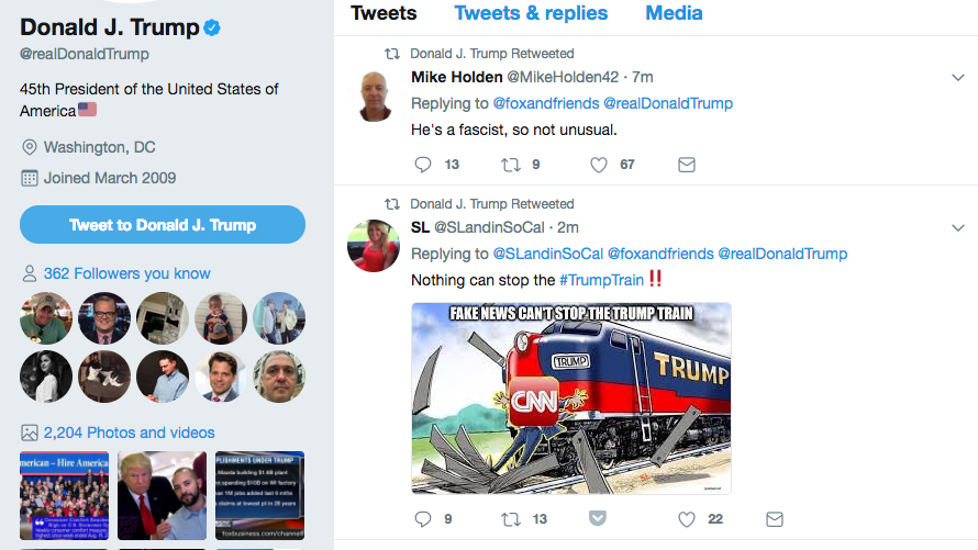 This screenshot shows President Donald Trump's Twitter account, @realDonaldTrump, at 7:04 a.m. ET, after it retweeted a post showing the