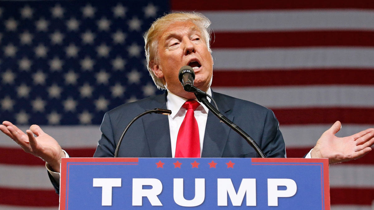 Republican presidential candidate Donald Trump speaks at a rally on June 18, 2016, in Phoenix.