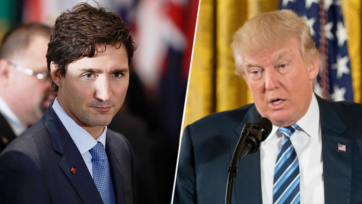 Canadian Prime Minister Justin Trudeau (left) and U.S. President Donald Trump