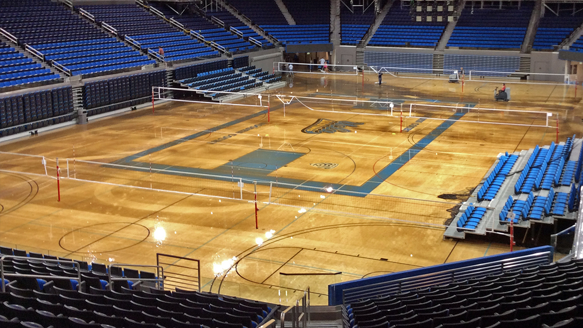 The Pauley Pavilion after water from a water main break flooded the stadium.
