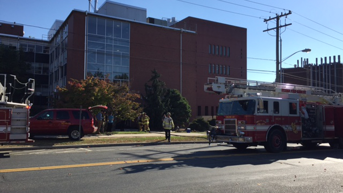 Fire crews on scene after a fire at the Torrey Life Sciences Building on UConn's main campus.