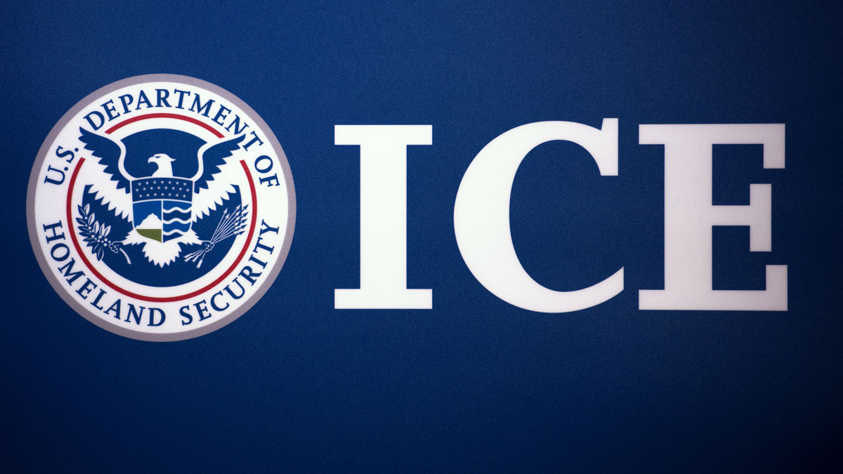 The Immigration and Customs Enforcement (ICE) logo is seen at ICE headquarters in Washington, DC.