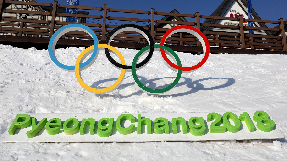 The Olympic rings are seen in this February 4, 2017, file photo in Hoenggye town, near the venue for the opening and closing ceremonies of the Pyeongchang 2018 Winter Olympic Games in Pyeongchang, South Korea.