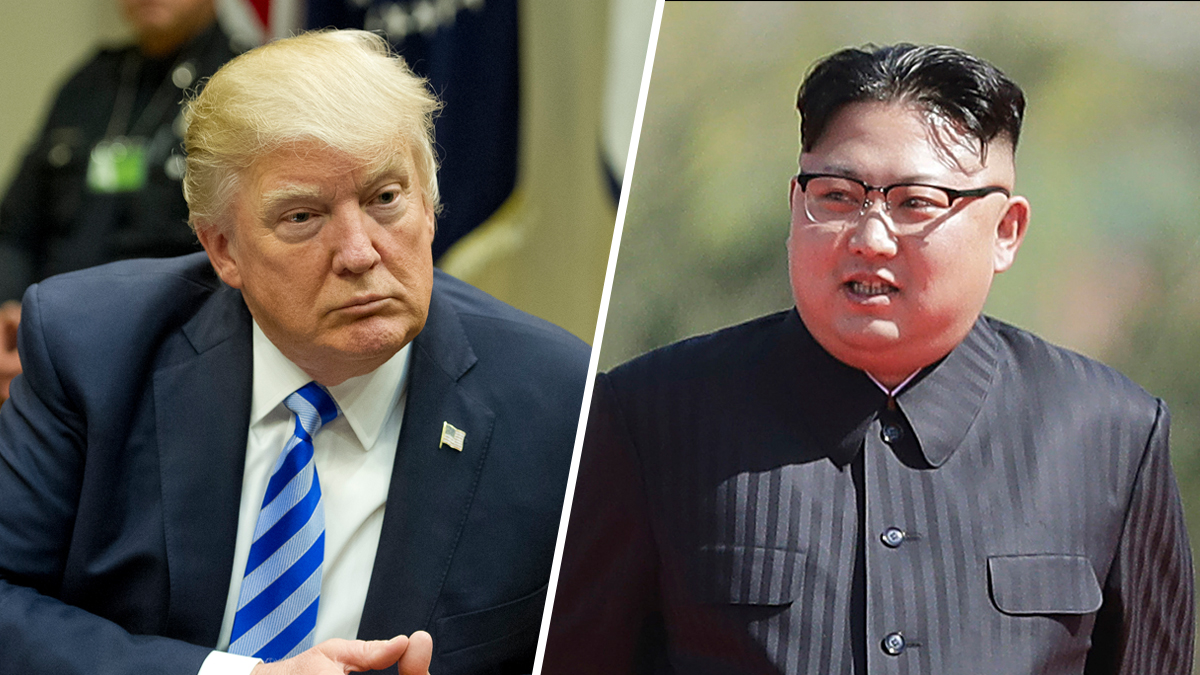 Files photos of President Donald Trump, left, and North leader Kim Jong-Un, right.