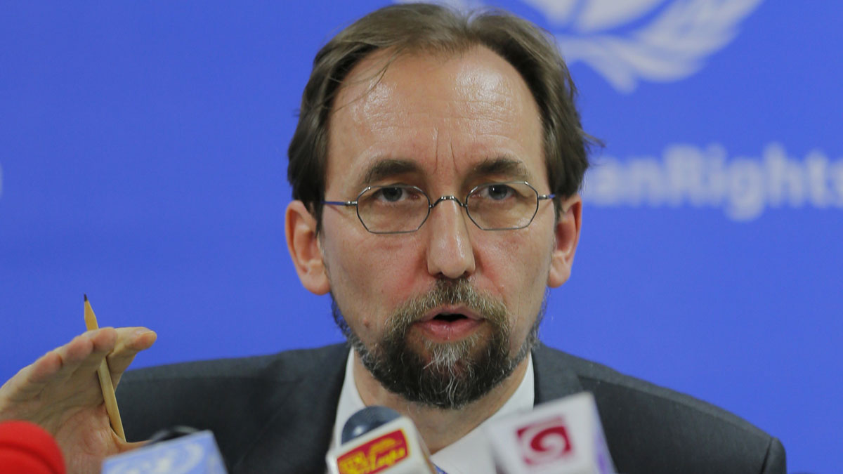 In this Feb. 9, 2016, file photo, United Nations High Commissioner for Human Rights Zeid Ra'ad al-Hussein speaks in Colombo, Sri Lanka. The U.N. human rights chief said on Wednesday, Oct. 12, 2016, that U.S. presidential candidate Donald Trump would be