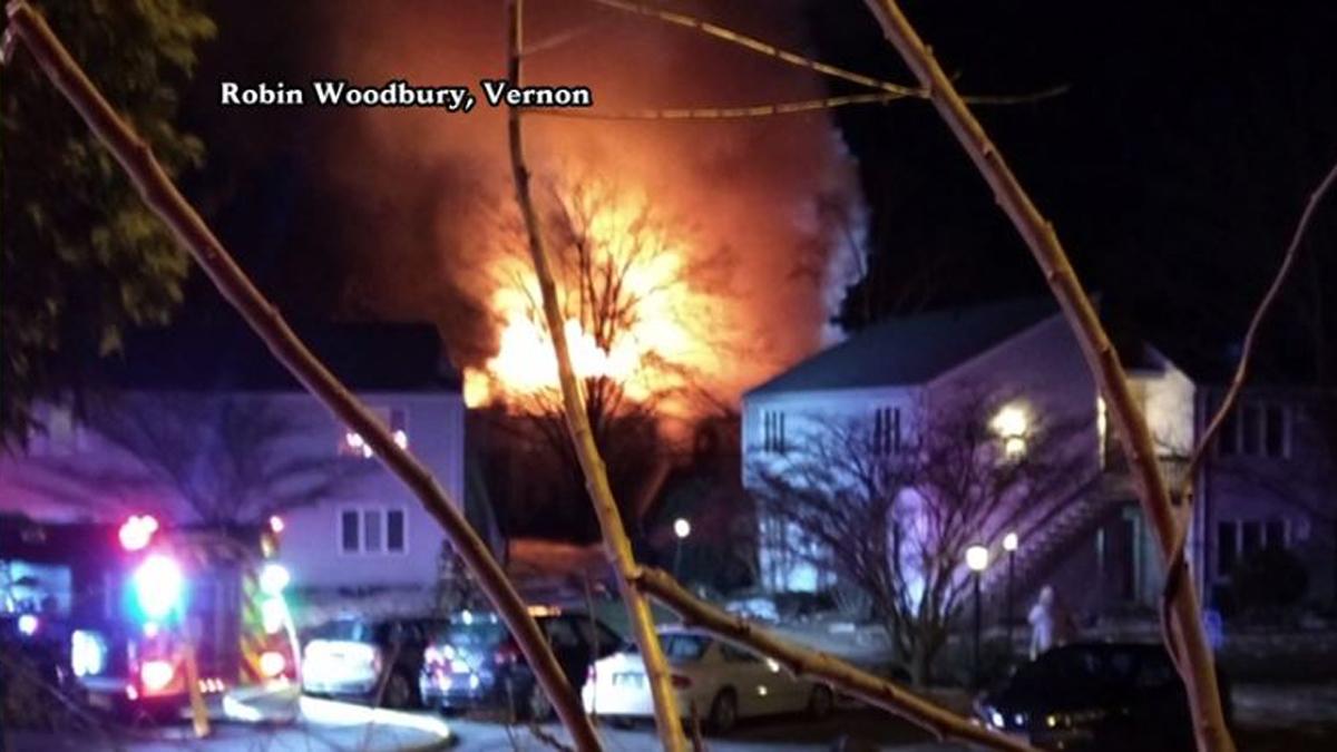 Flames broke out at a condominium complex in Vernon around 1:45 a.m. Monday.
