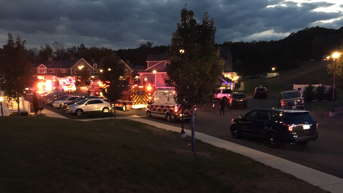 Crews on scene at a fire at a townhouse in Vernon Tuesday.