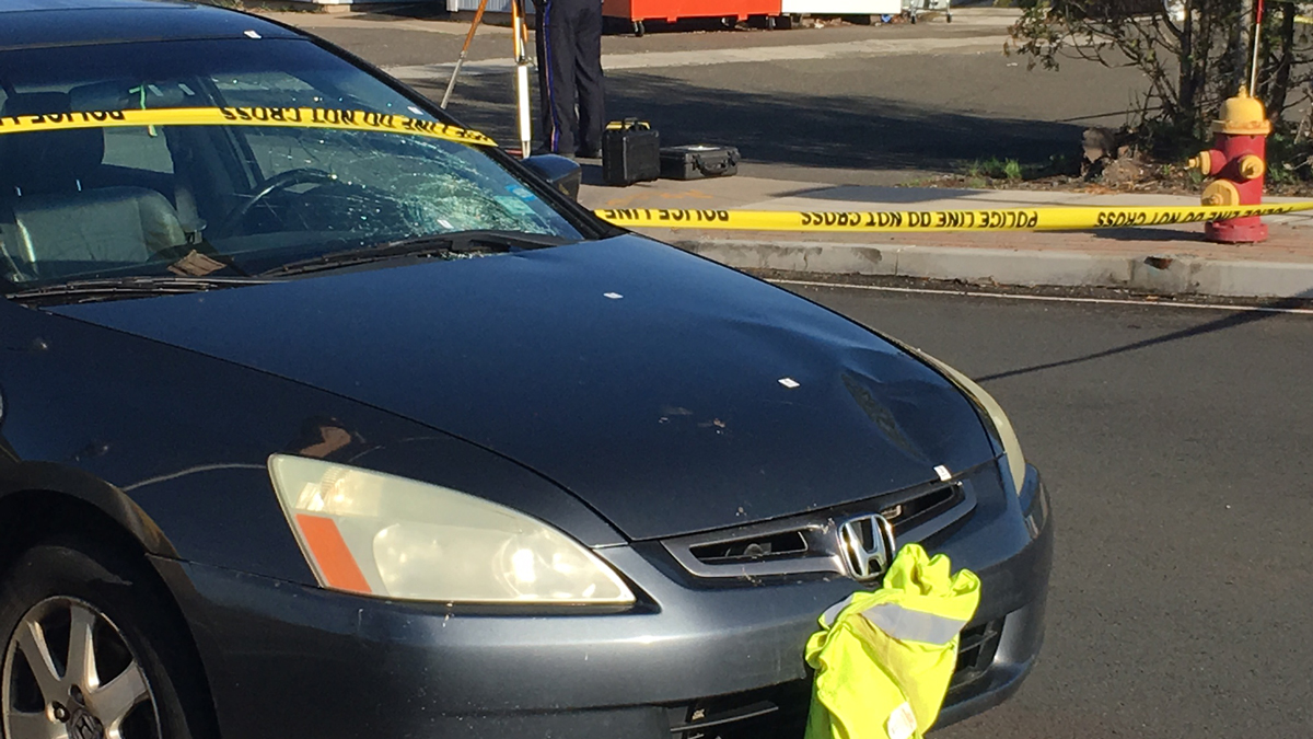 A pedestrian was struck by a car on Quinnipiac Street in Wallingford near the intersection of North Cherry Street Monday morning.
