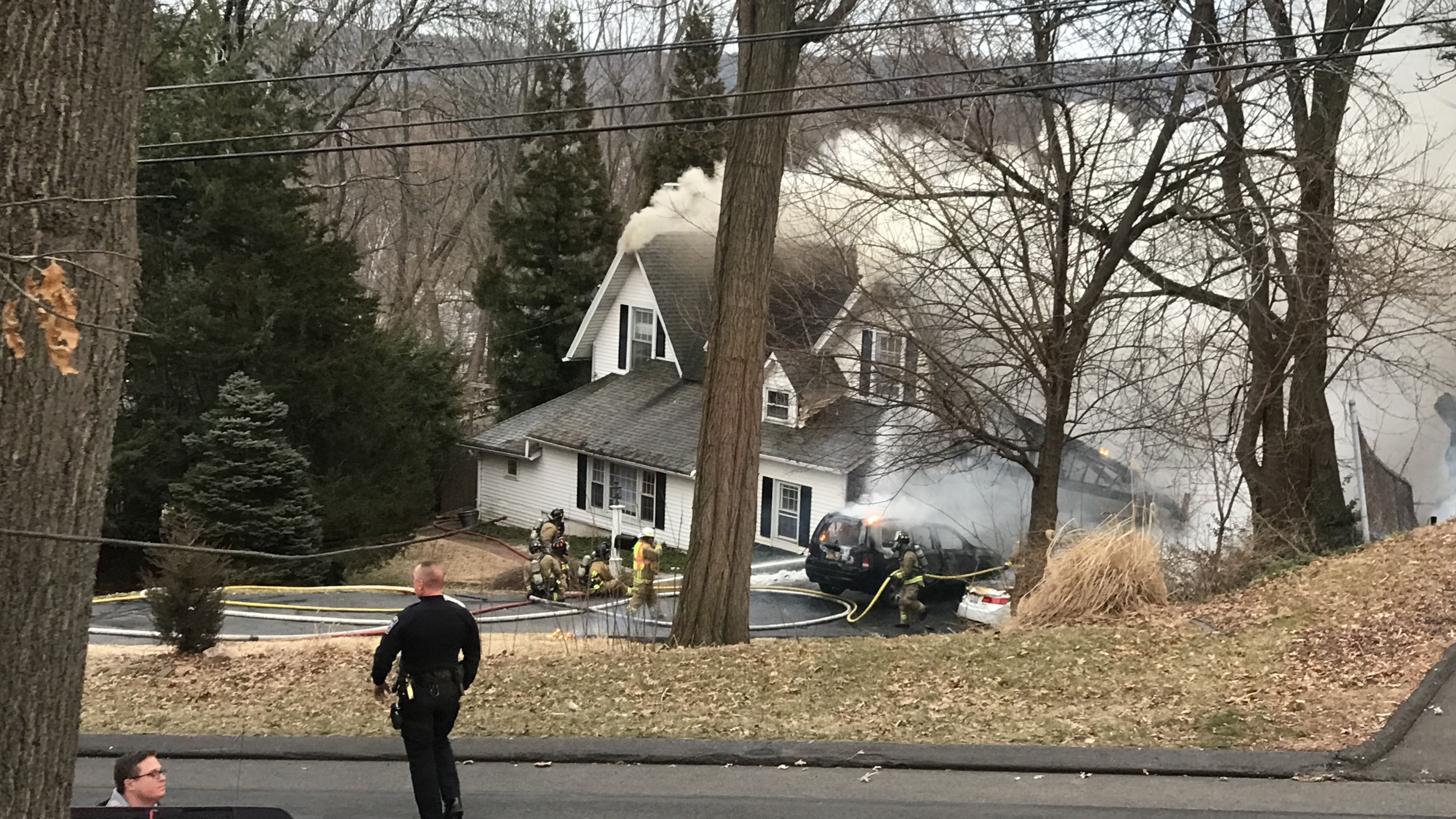 The porch at 1617 Boulevard in West Hartford caught fire overnight Tuesday.