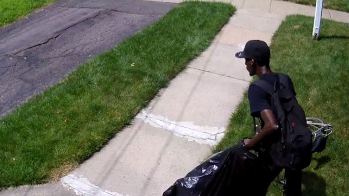 A West Hartford resident posted surveillance video of a thief stealing a package out of his home's vestibule Sunday afternoon.