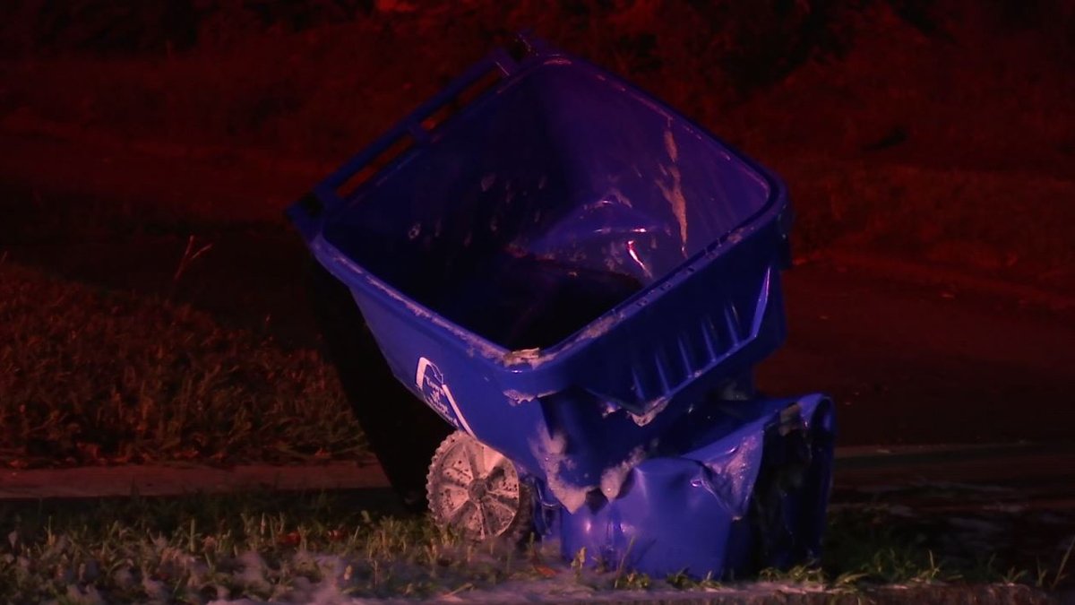 Police say a recycling bin was intentionally set fire at 566 Park Road in West Hartford Tuesday. It was one of five suspicious fires overnight.