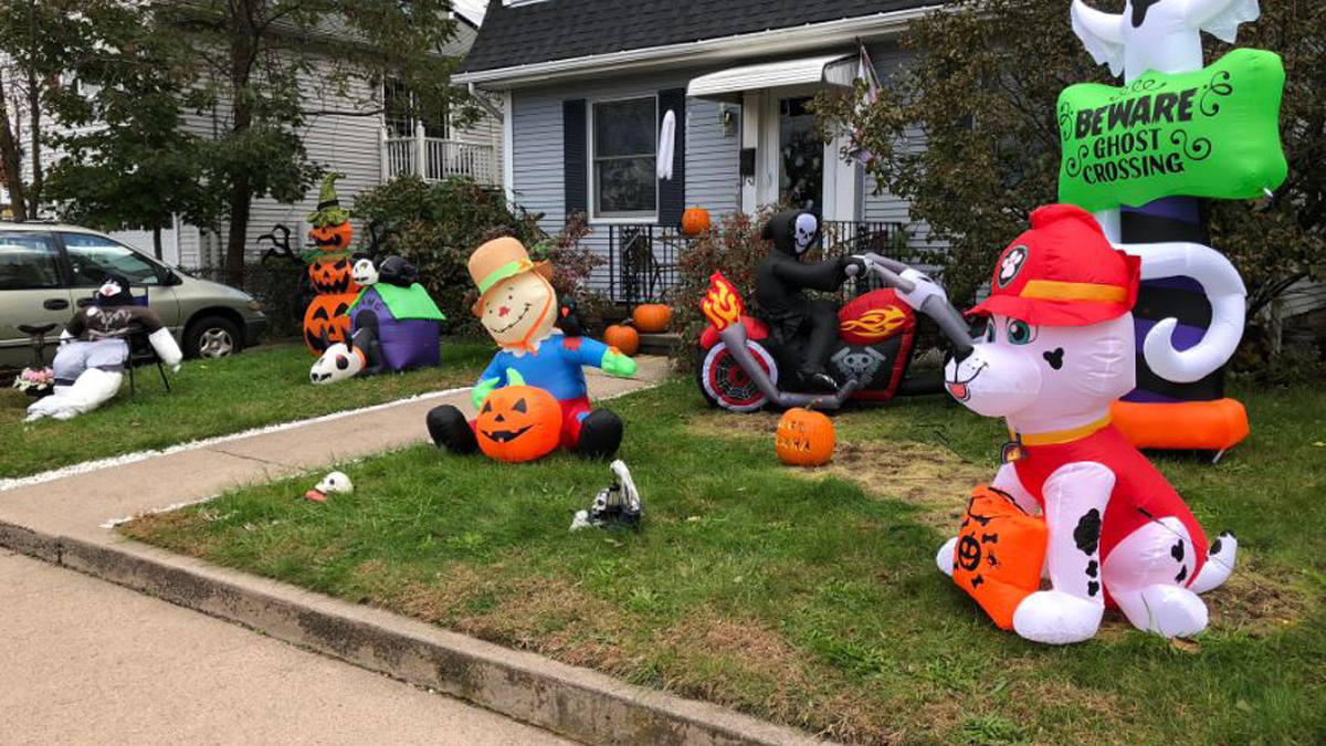 The West Haven community rallied to replace inflatable Halloween decorations stolen from a family's front lawn - this is the result.