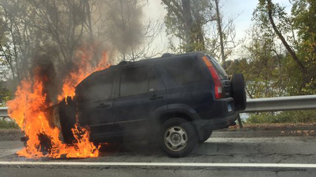 A car fire on I-91 south in Wethersfield