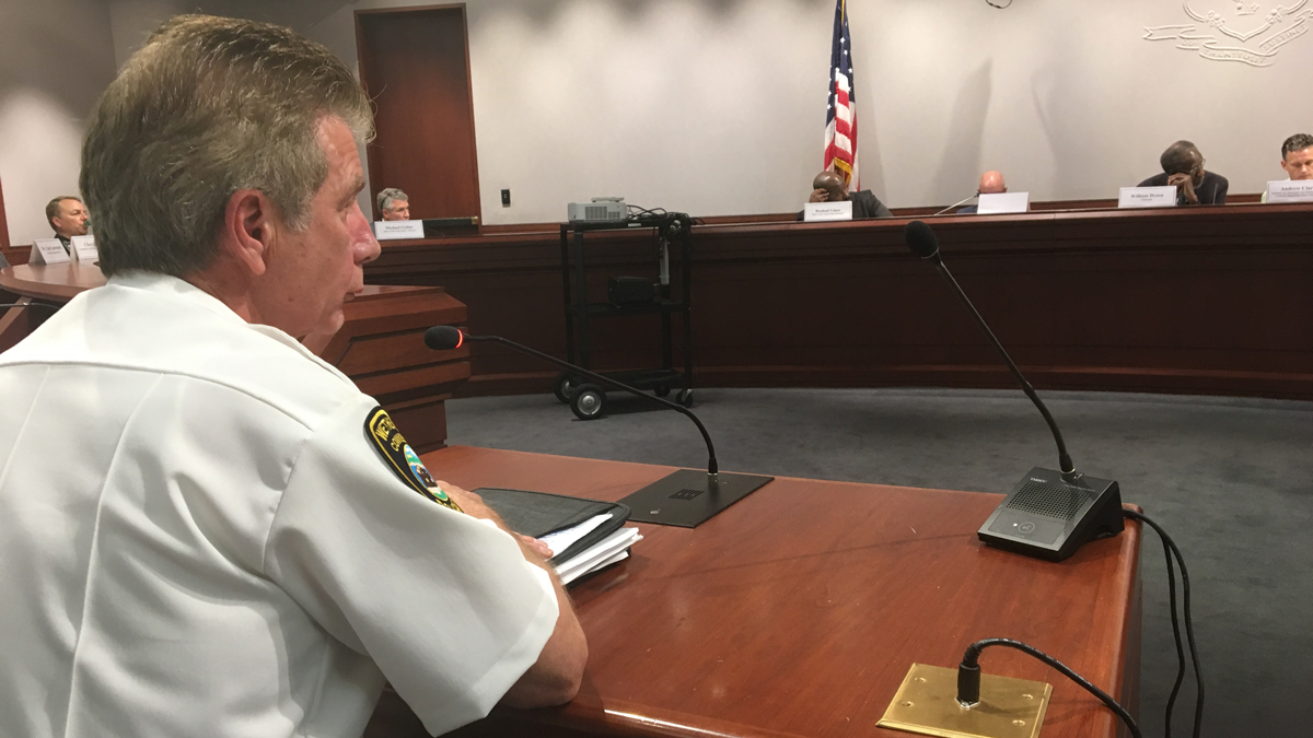 Wetherfield's Chief of Police James Cetran defended his officers to the Connecticut Racial Profiling Prohibition Project Advisory Board at the Legislative Office Building after a state report suggested racial bias in traffic stops.