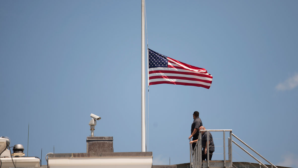 The American flag is flown at half staff over the White House in Washington, on June 12, 2016, after President Barack Obama spoke about the massacre at an Orlando nightclub. A county official in Alabama refused to fly the flag at half-staff following the massacre, even with directives from Obama and Alabama Gov. Robert Bentley.