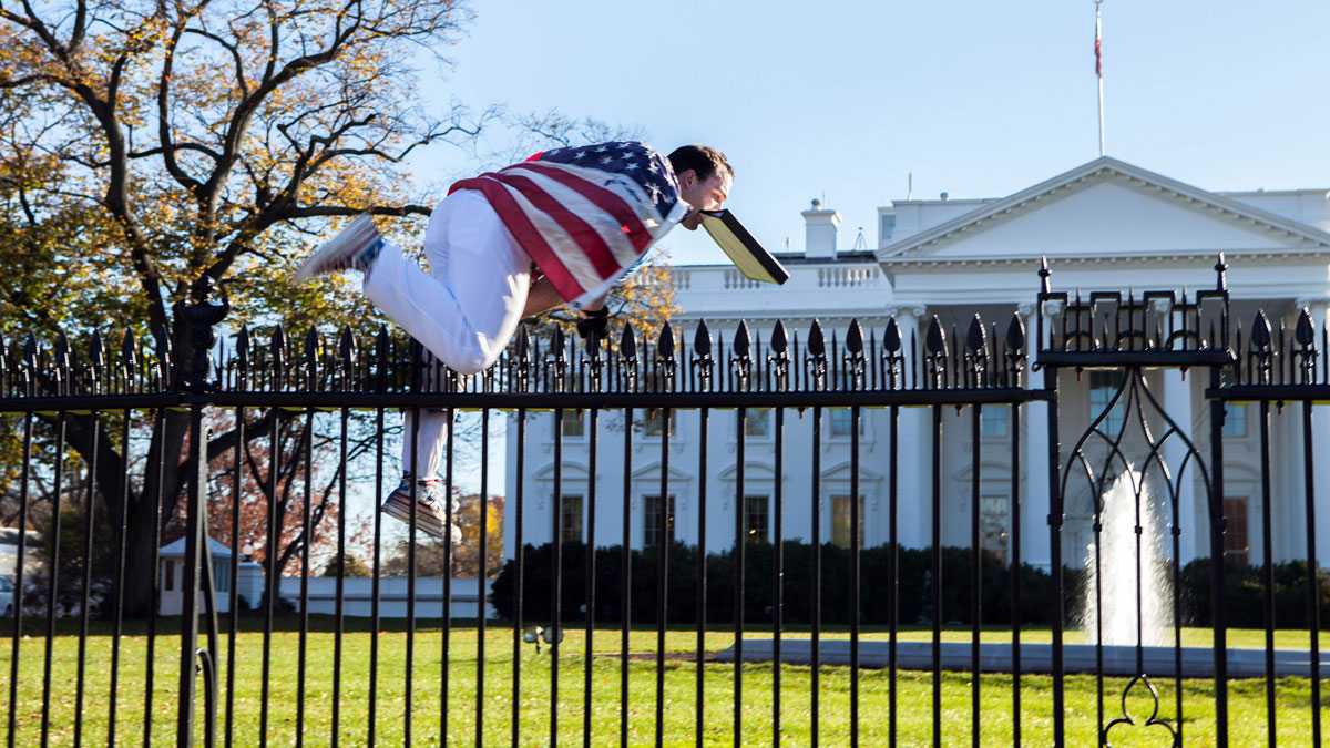 Joseph Caputo jumps a fence at the White House on Thursday, Nov. 26, 2015 -- when President Barack Obama and his wife and daughters were spending Thanksgiving at the White House. Photo provided by Vanessa Pena.