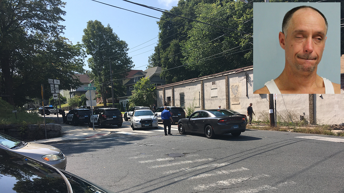 James Bowers (inset) is accused of barging into a home on Bridge Street in Willimantic Tuesday afternoon and showing the resident a gun tucked into his waistband.