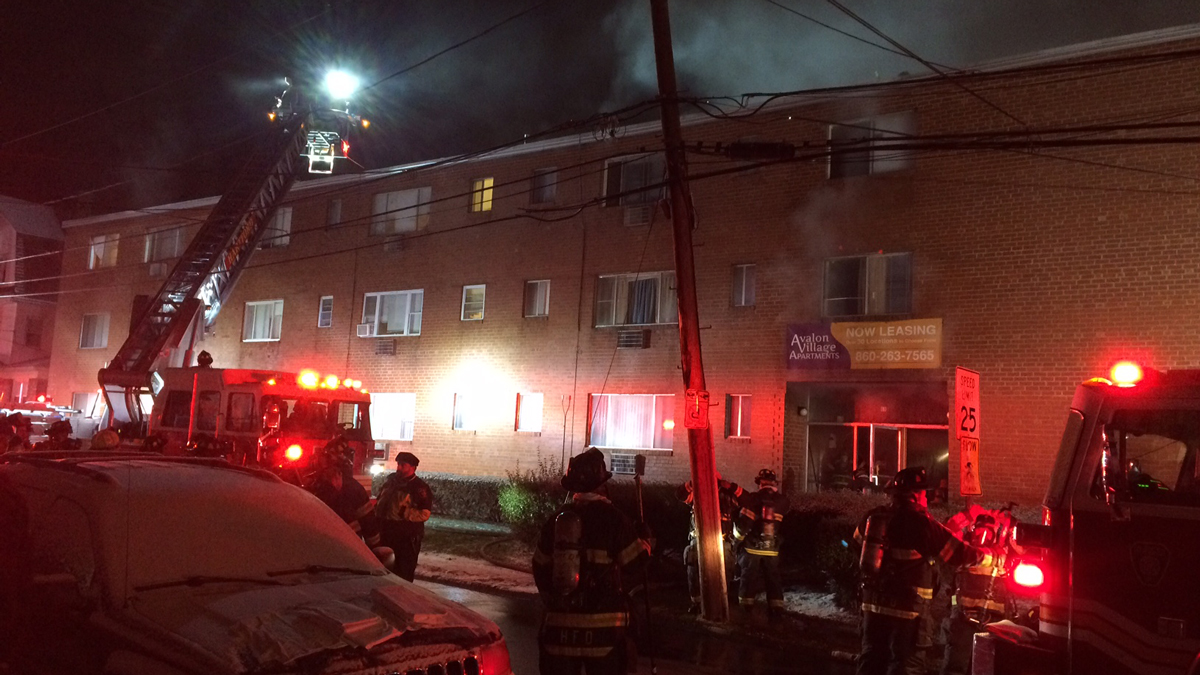 Crews responded for a fire at an apartment complex on Ward Place in Hartford Monday.