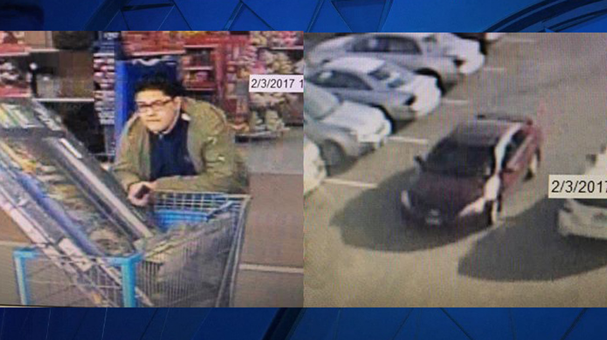 Waterford police said the suspect pictured above stole a 50-inch V from Wal-Mart Friday afternoon.