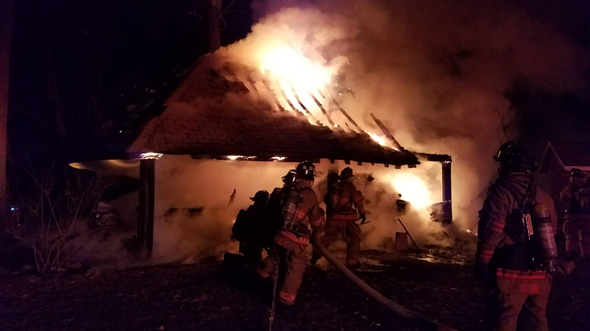 Wethersfield firefighters knocked down a fire at a large outdoor pavilion at a local home Saturday night.